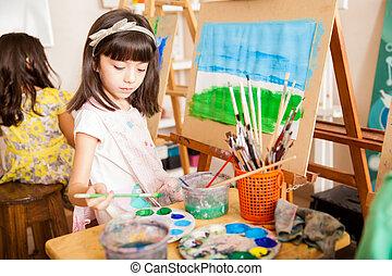 mieszanie, jakiś, kolor, sztuka klasa