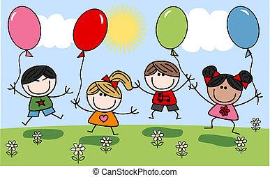 mieszany, dzieci, szczęśliwy