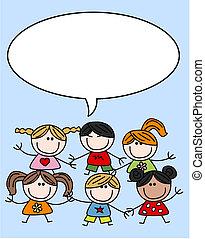 mieszany, dzieciaki, dzieci, etniczny