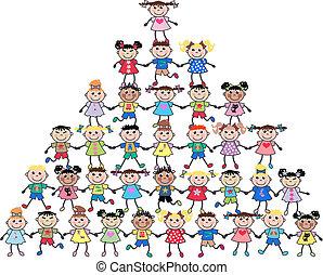 mieszany, dzieciaki, etniczny