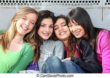 mieszany, dziewczyny, uśmiechanie się, prąd, grupa