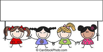 mieszany ethnic, dzieci, szczęśliwy