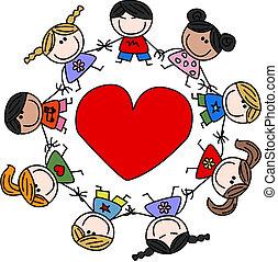 mieszany ethnic, miłość, dzieci, szczęśliwy