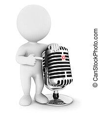 mikrofon, 3d, biały, ludzie