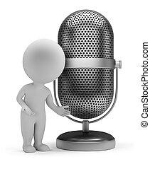 mikrofon, ludzie, -, retro, mały, 3d