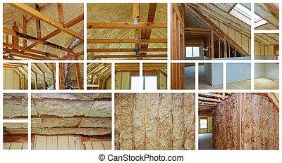 minerał, collage, fotografia, wood., izolacja, prefabrykowany, upał, dom, nowy, wełna