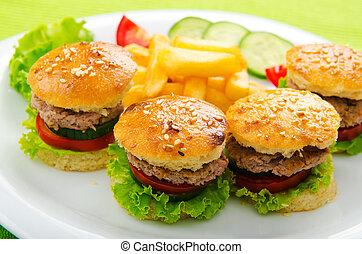 mini, płyta, smakowity, burgers