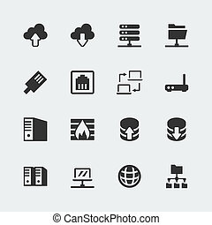 mini, wektor, komplet, sieć, ikony