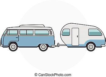 minibus, awangarda, -, obozowicz, retro, rocznik wina, bok, maruder, prospekt