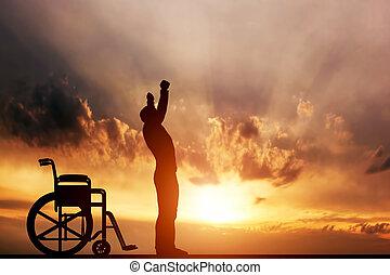 miracle., do góry, uniemożliwiony człowiek, reputacja, wheelchair., medyczny, uleczenie