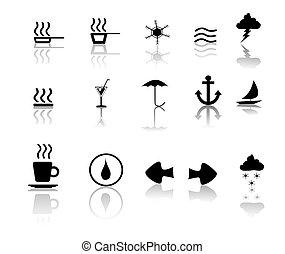 miscillaneous, na, czarnoskóry, biały, ikony