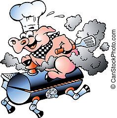 mistrz kucharski, baryłka, jeżdżenie, świnia, bbq