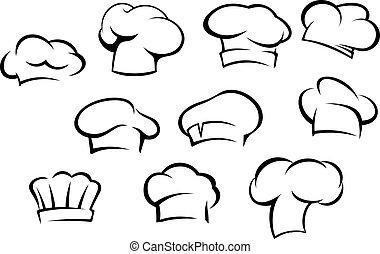 mistrz kucharski, biały, kapelusze, czapki