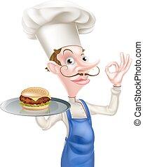 mistrz kucharski, hamburger, doskonały, znak