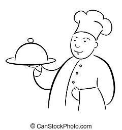 mistrz kucharski, kok, kaligrafia, taca, rysunek
