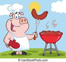mistrz kucharski, kok, rożen, pagórek, świnia