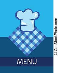 mistrz kucharski, menu, kapelusz, szablon, restauracja