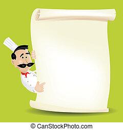 mistrz kucharski, menu, pergamin, dzierżawa