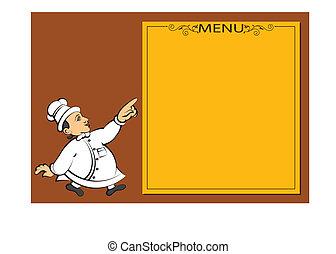 mistrz kucharski, menu, projektować, karta, szablon