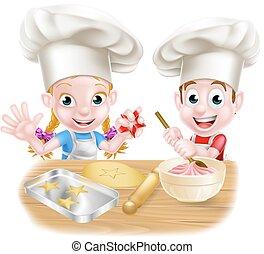 mistrz kucharski, piekarz, rysunek, dzieci