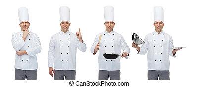 mistrz kucharski, przybory, samiec, kuchnia, szczęśliwy