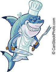 mistrz kucharski, rekin, rysunek, podły