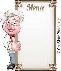 mistrz kucharski, rysunek, świnia, menu, litera