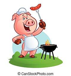 mistrz kucharski, rysunek, świnia