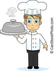 mistrz kucharski, sprytny, przedstawiając, chłopiec, mąka