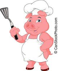 mistrz kucharski, sprytny, rysunek, świnia