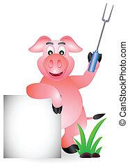 mistrz kucharski, znak, świnia, czysty