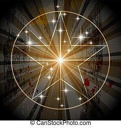 mistyczny, starożytny, pentagram