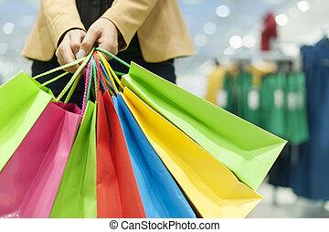 mnóstwo, kobieta shopping, dzierżawa