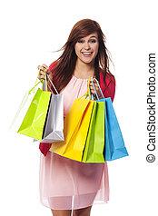 mnóstwo, kobieta shopping, młody, modny
