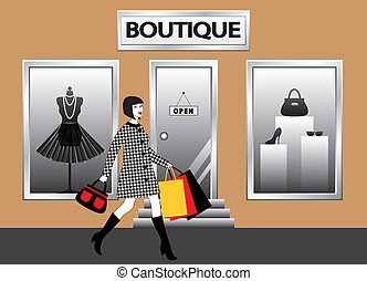 mnóstwo, pieszy, kobiety, przód, zakupy, showcase, butik