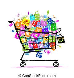 mnóstwo, pojęcie, zakupy, cielna, sprzedaż, projektować, kosz, twój