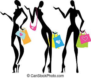 mnóstwo, zakupy, kobiety, ilustracja
