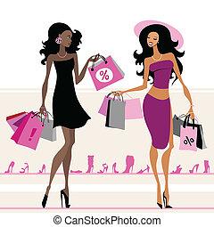 mnóstwo, zakupy, kobiety