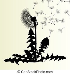 mniszek lekarski, abstrakcyjny, ilustracja, wektor, wiosna, tło