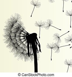 mniszek lekarski, wiosna, abstrakcyjny, ilustracja, wektor, tło