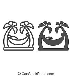 mobile., pojęcie, waterpark, hamak, dłonie, styl, drzewa, szkic, dłoń, biały, dwa, graphics., stały, tło, kreska, ikona, plaża znaczą, człowiek odprężający, między, wektor, ikona