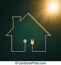 moc, eco, abstrakcyjny, tła, dom, energia, projektować, twój