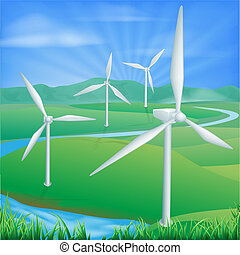 moc, ilustracja, wiatr energia