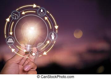 moc, słoneczny, dzierżawa, concept., ikony, pojęcie, odnawialny, lightbulb, ręka, ekologia, do podtrzymania, źródła, development., nature., energia