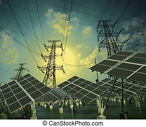 moc, transmisja, energia, słoneczny, wieża, poduszeczki