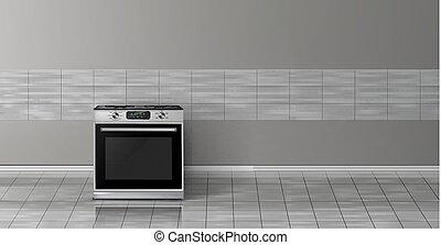 mockup, piec, -, realistyczny, wektor, 3d, kuchnia