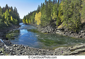 mocny, góra, river.