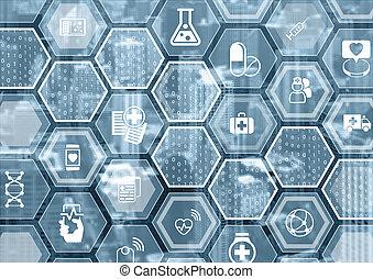 modeluje, e-healthcare, błękitny, elektronowy, sześciokątny, tło, szary