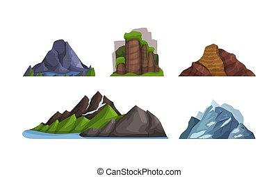 modeluje, różny, góry, wektor, górki, colors., illustration.