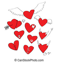 modeluje, serce, rysunek